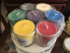 Complete set of 7 directional votive candles in glass